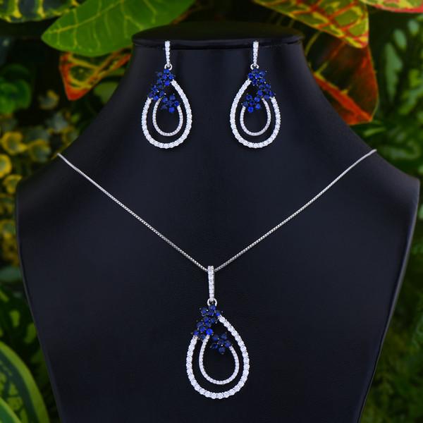 LARRAURI 2020 New Hot Trendy Luxury Shiny Crystal Water Drop Pendant Jewelry Sets for Women Wedding Dubai Bridal Jewelry Sets