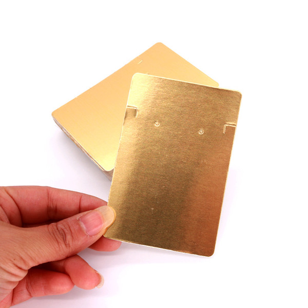 100pcs/lot Pure Gold Color 6x9cm Earrings Card Ear Stud Packing Card Jewelry Display Hang Tag Label Printing