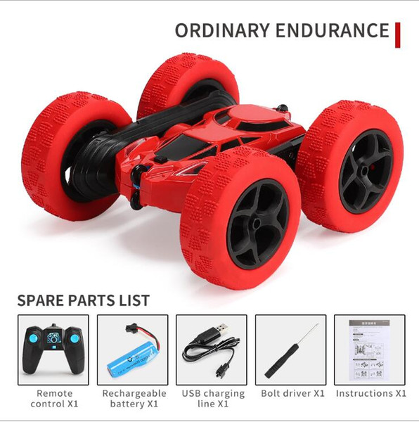 top popular 2.4G tumbling and twisting rotation twisting double-sided deformation stunt car charging drop-resistant lights children remote control car 2020