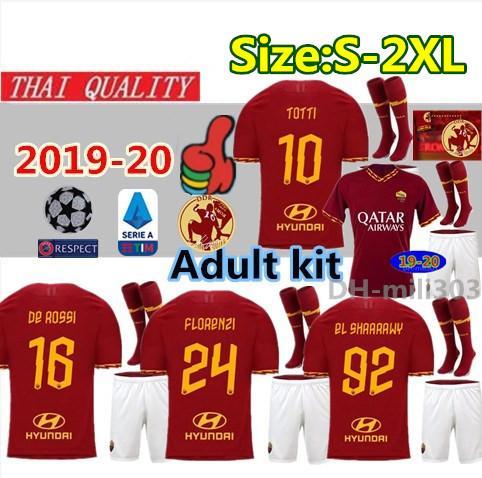 2019 2020 a roma home occer jer ey kit 19 20 dzeko totti rome cami eta  football hirt kit de ro i farewell match uniform 2xl