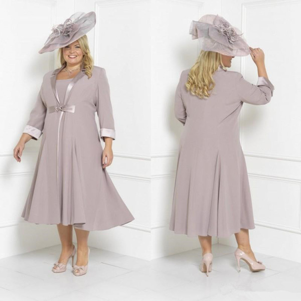 2019 Lilac Plus Size two pieces Mother Of The Bride Dresses Sleeves Tea Length Scoop Neck Wedding Guest Dress Custom Mothers Groom Gown