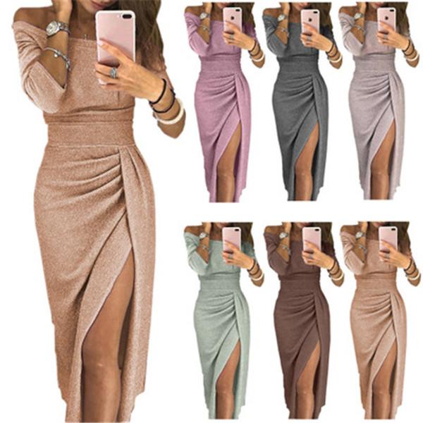 Women Sexy Split Dress In Summer 3/4 Sleeve Slash Neck Dress Brilliant Pencil Apparel for Ladies Party Dress