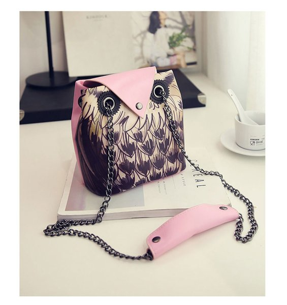 1pc 2019 Owl Luxury women owl cartoon PU leather bag fox Cross body bow girls shoulder bags lady handbag totes messenger purse party - OWL01