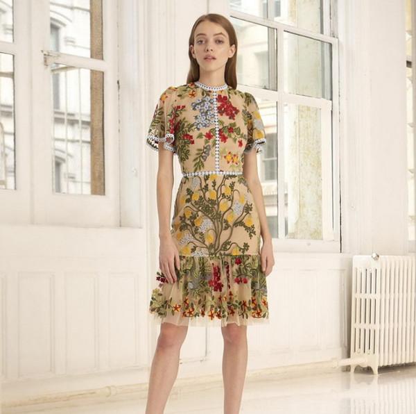 Niñas grandes vestidos de alta calidad de encaje de gasa floral hojas bordado princesa vestido de verano de encaje de encaje agujero collar falbala vestido F8939