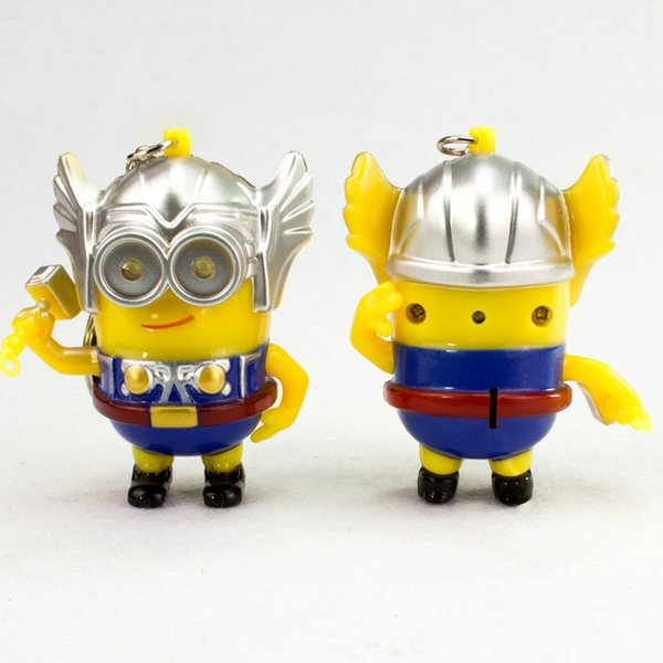 Cartoon Movie 3D Talk Minions Say I love you Keyring The thor minions Cosplay Led Keyrings Low 3D Despicable Me Doll Toys With Coat Keychain