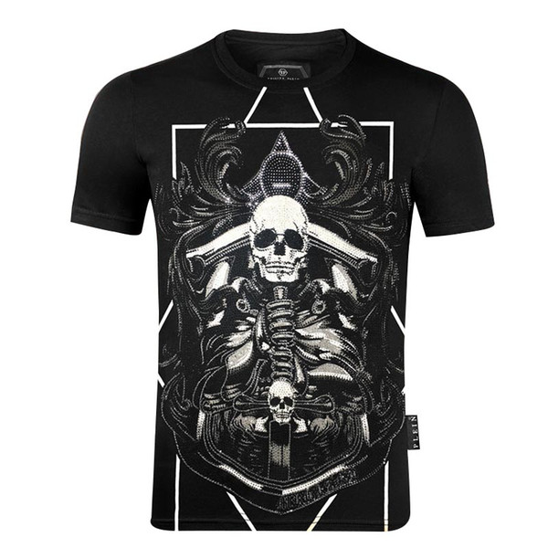 2020 New luxury Men's t-Shirt Casual O-Neck printing skull Men's T-Shirt Fashion Brand Short Sleeve men's t-shirt qp
