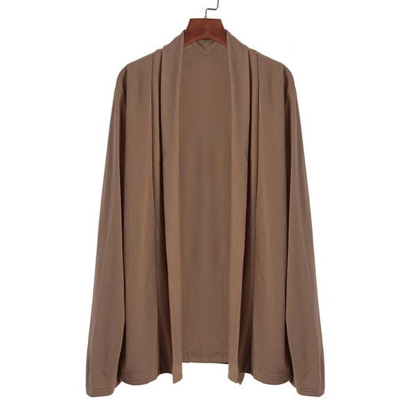 Cardigan camicia a scialle bavero manica lunga manica lunga uomo casual basic in cotone tinta unita MJARTORIA New Fashion