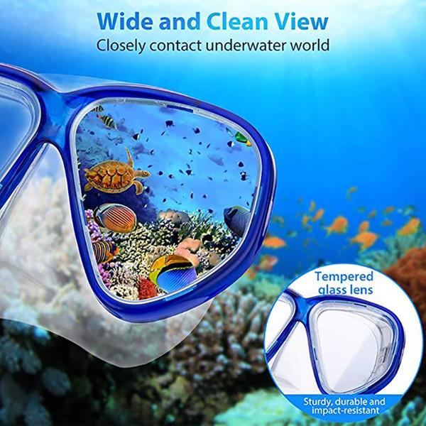 Snorkels Diving Mask Breathing Tube Kit Children Tempered/Toughened Glass Eyewear Full Dry Set Sportswear Accessories new