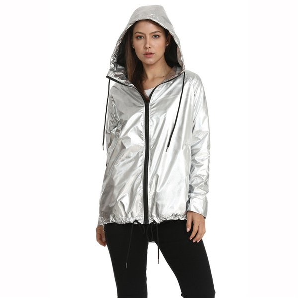 latest trends hot sale exceptional range of styles 2019 Jaquetas Femininas Metallic Color Bomber Jacket Womens 2019 New  Outerwear Hooded Autumn Coat Femme Zip Up Waterproof Jacket 66 From Yakima,  ...