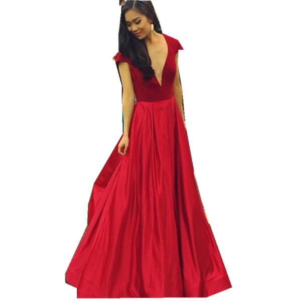 Red prom dresses 2019 short sleeves evening dress long floor length deep v neck cocktail dress for special occasion