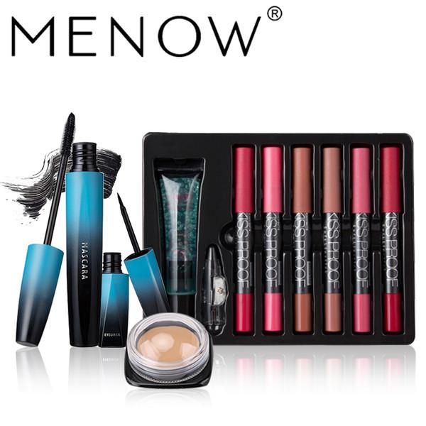 MENOW Makeup set Kiss proof Matte lipstick with Oil lips Remover Pencil Sharpener Mascara& Liquid Eyeliner Concealer 5489