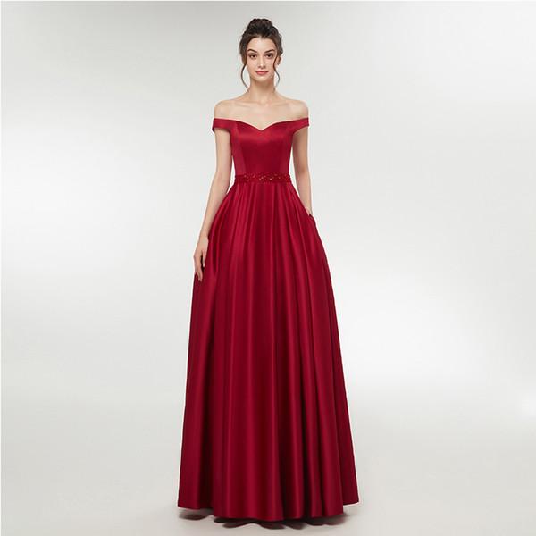 Simple Cheap A-line Satin Evening Dresses Off The Shoulder Party Gowns Full Length Burgundy Nude Color Evening Prom Dresses Vestido De Festa