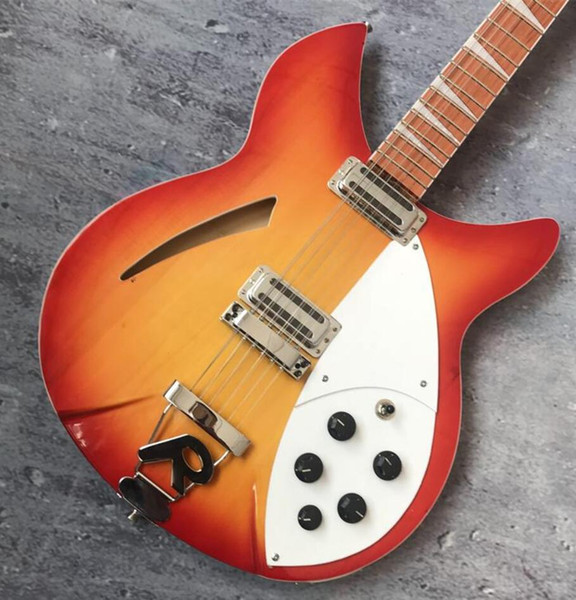 Custom RIC Fire Glo Cherry Sunburst 330 12 Strings Hollow Electric Guitar, Gloss Lacquer Fingerboard, Two Output, Vintage Tuners, Five Knobs