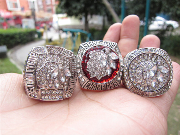 3pcs 2010 2013 2015 Chicago Blackhawks Stanley Cup Championship Ring Set Men Sport Fan Souvenir Gift Wholesale 2019 DropShipping