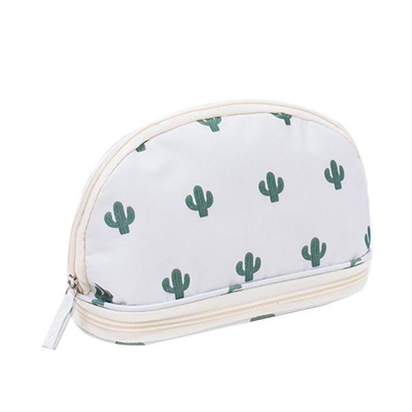 Women Fashion Flamingo Cactus Print 2-layer Makeup Brush Organizer Cosmetic Bag