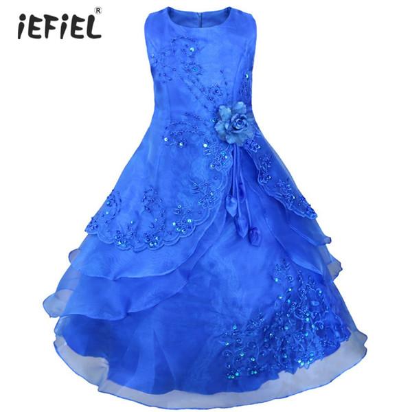 Iefiel Kids Flower Girl Dress Long Formal Vestido De Festa Elegant Embroidered Wedding Party Dress Ball Gown Girl Princess Dress Y19061801