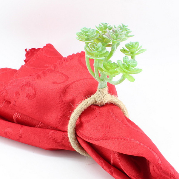 Iron / Plastic / Hemp Rope Simulated Fleshy Plants Flowering Immortals Pure Hand-made Napkin Ring For Table Decoration & Accessories Gift