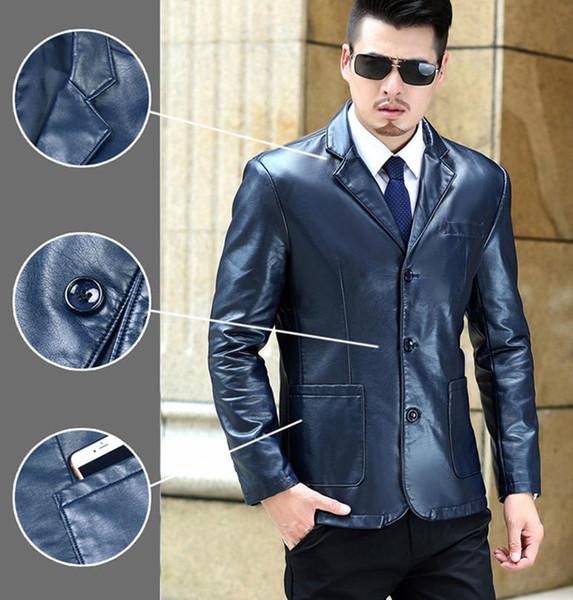 Mode-6XL Plus Size Hommes Big PU Vestes en cuir Casual simple boutonnage Vêtements Manteaux Designer Veste