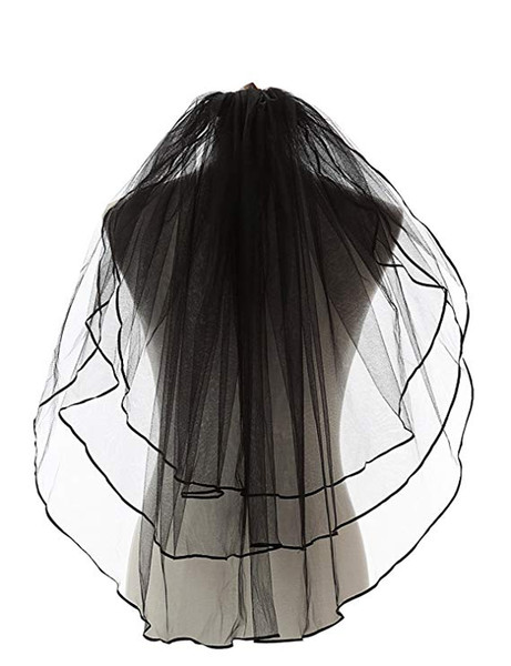 Vente chaude Noir Gothique Voile De Mariage Femmes 3 Tiers Ruban Bord Doigt Conseil De Mariage Voile De Mariée 11054BK Pas Cher Vente Chaude