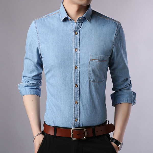Simple and comfortable atmosphere of brand-name men's cotton long-sleeved shirt Korean Slim youth Slim men shirts cowboy style