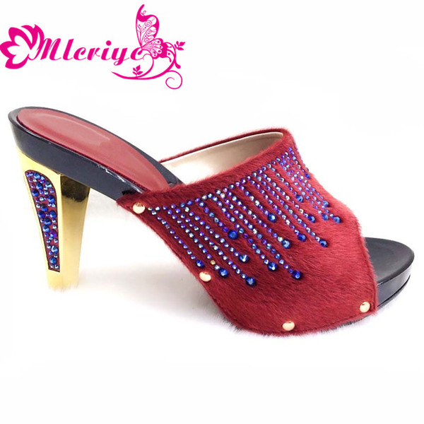 204-2 wine New Arruval Sexy Ladies Shoes Party Wedding Shoes Decorated with Rhinestone Elegant Slip on Women Lady Pumps Shoe