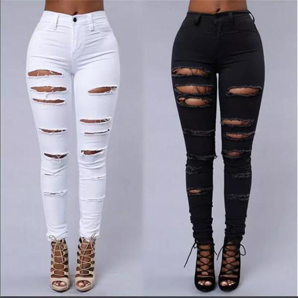 Großhandelsfrauen zerrissene Jeans hohe Taille zerrissene weibliche Vereindenimhosen Loch-Knie-dünner Bleistiftbaumwollstoff zerstörte Hose für Mädchenvereinabnutzung