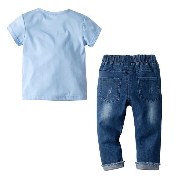 T-shirt a maniche lunghe in jean-tail ricamato a maniche corte in puro cotone americano per bambini e ragazzi