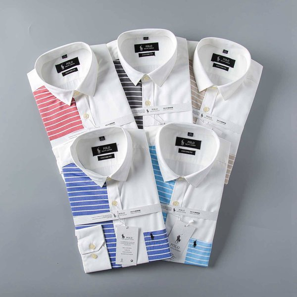 Wholesale-New 2018 High quality Mens Shirts Designer Brand Fashion Business Casual Dress Shirt with french cufflinks Free Shipping014