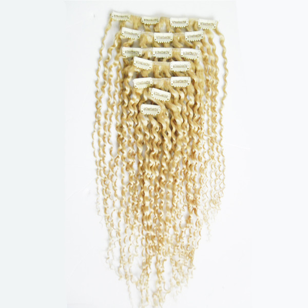 Blonde Mongolian Afro Kinky Curly Weave Remy Hair Clip In Human Hair Extensions 7 Pieces/Set 100g Remy Human Hair clip in extensions