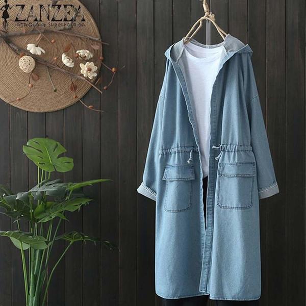 2019 Plus Size ZANZEA Spring Fashion Women Casual Solid Hooded Long Sleeve Denim Blue Party Long Cardigan Jackets Outwear Coat T190907
