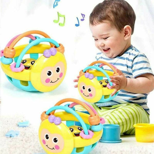 Rubber Tambourine Rattle Musical Instrument Development Toy for Baby 0-12 Months