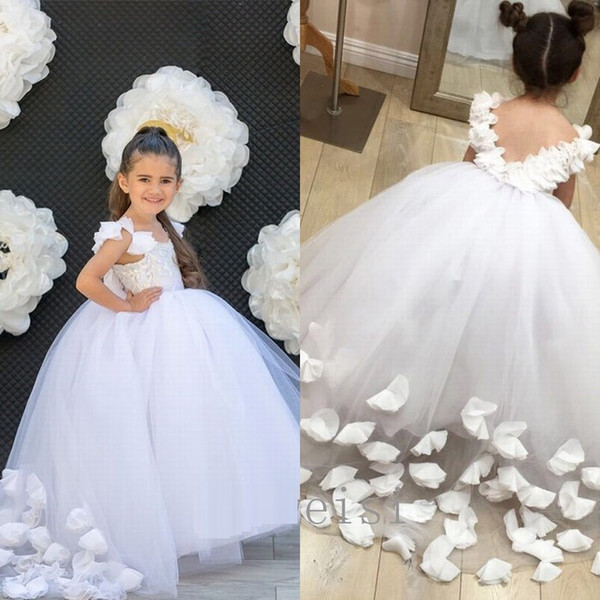 White Flower Girl Princess Dress Formal Pageant Wedding Bridesmaid Gown Dresses