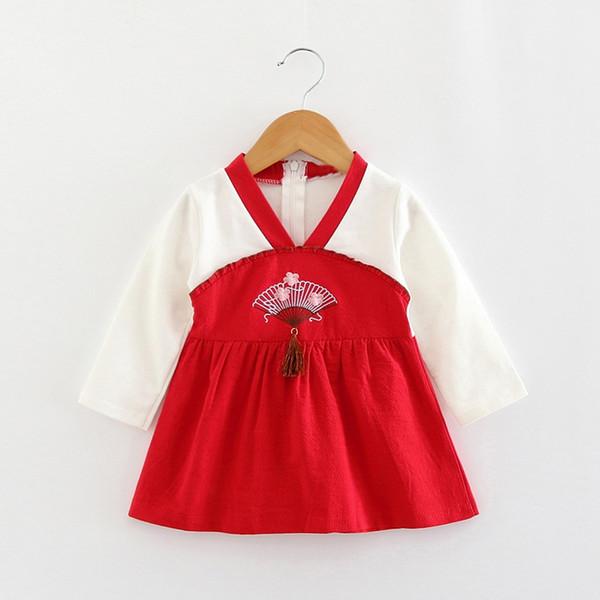 Детское платье с длинным рукавом младенческой платье Принцесса цветок вышивка Детские платья для весны 2019 новорожденных девочек свадебная одежда