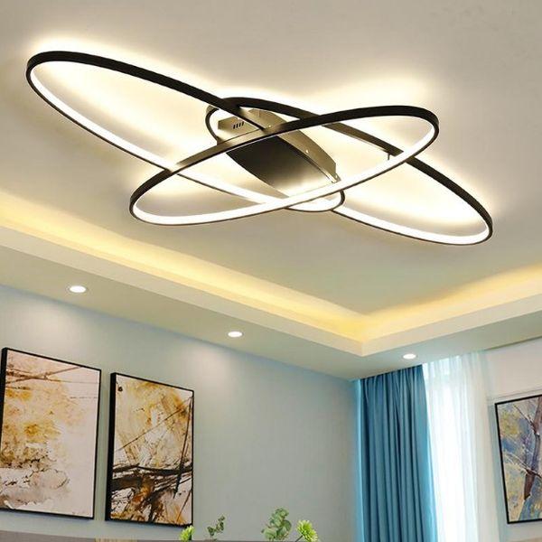 2019 New Design Remote Dimming Modern Led Chandelier Ceiling Lamps For  Living Room Bedroom Plafon White / Black Lights Lighting Fixtures LLFA From  ...