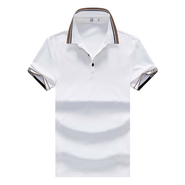 Men's Lapel T-shirt Neck Cuff Knitted Fabric Stitching Color Block Letter Print Summer Casual Simple Top