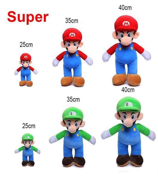 25 centimetri 35 centimetri 40 centimetri Super Mario Bros giocattolo della peluche di Mario e Luigi degli animali farciti Giocattoli di peluche per i regali per bambini