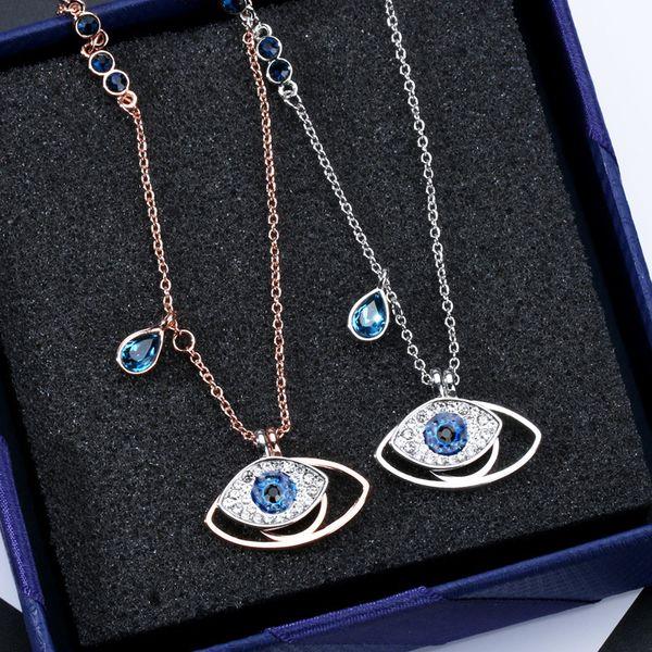 Famoso diseño doble azul ojos malvados collar corto para las mujeres de color oro cubic zirconia encanto femenino bijuterias