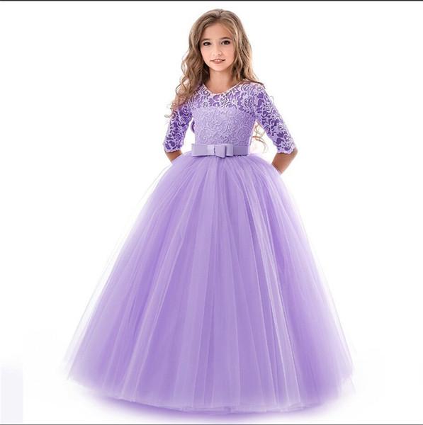 Children Clothing Princess Lace Girls Flower Dress Graduation Party Dresses For Girls Ceremony Long Elegant Teenage Costume 14Yr