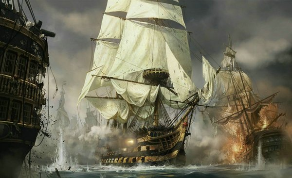 Wall Picture Art Best gift Fantasy Pirates Ship Boat Sailing Seascape Oil Painting Printed On Canvas Living Room Bedroom Home Decor Ship12