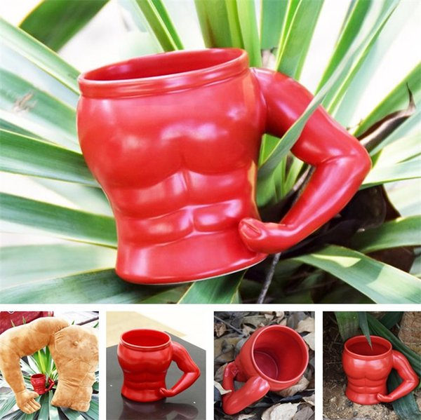 New style Fashion Cup Muscle Men's Shape Cup Ceramic Cups Red cups Mug creative tumblerful T6I6027