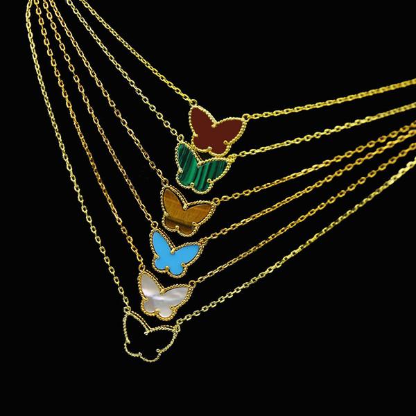 Orta Doğu sıcak 18K altın kaplama çiçek serisi kelebek şeklindeki kaplan gözü taşı kolye zincir uzunluğu 45cm 2019 klasik takı bayan modelleri