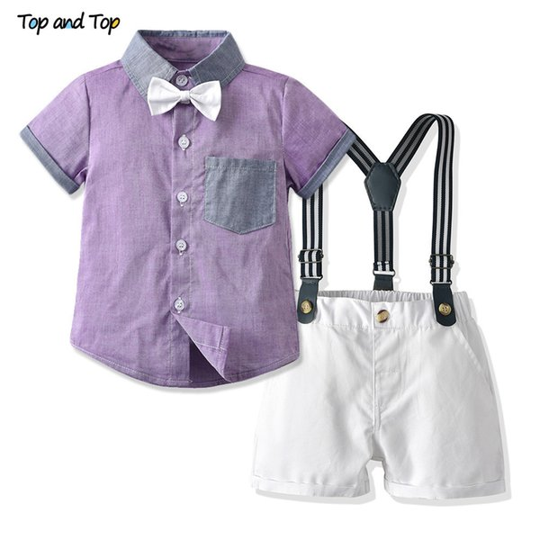 Top And Top Estate Bambini Ragazzi Set di abbigliamento casual Manica corta Camicia viola + tuta da bambino Bambini Boy Outfit Bebe Suit J190715