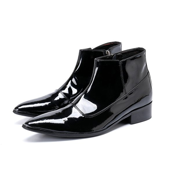 2019 britische lackleder schuhe männer stiefeletten spitz männer party kleid stiefel plus größe motorrad kurze stiefel