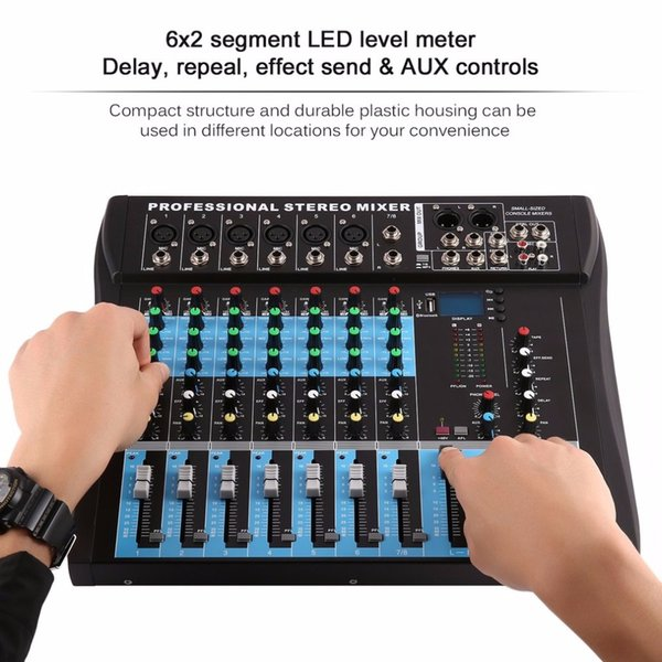 CT8 8 Channel Professional Stereo Mixer Live USB Audio Sound Console Network Anchor Device Vocal Effect Processor
