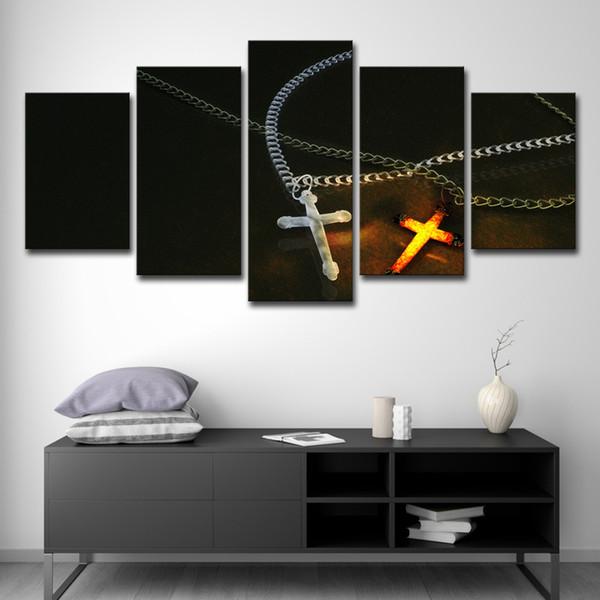 Leinwand HD Drucke Bilder Home Wandkunst 5 Stücke Eis Und Feuer Christus Kreuz Poster Abstrakte Gemälde Wohnzimmer Dekor