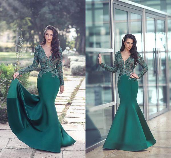 New Arrival Dark Green Elegant 2019 Evening Dresses Deep V Neck Long Sleeves Lace Applique Floor Length Evening Gowns Formal Dress Vestidos