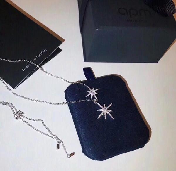 Lüks tasarımcı takı kadın kolye meteor çift metre kolye ayarlanabilir köprücük kemiği kazak zincir Basit moda parti