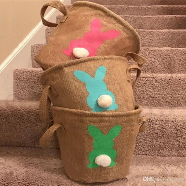 2019 DIY Easter Baskets Rabbit Burlap Bags Bunny Eggs Storage Bag Jute Rabbit Tail Basket Protable Handbag Rabbit Ears Handbags Festival Hot