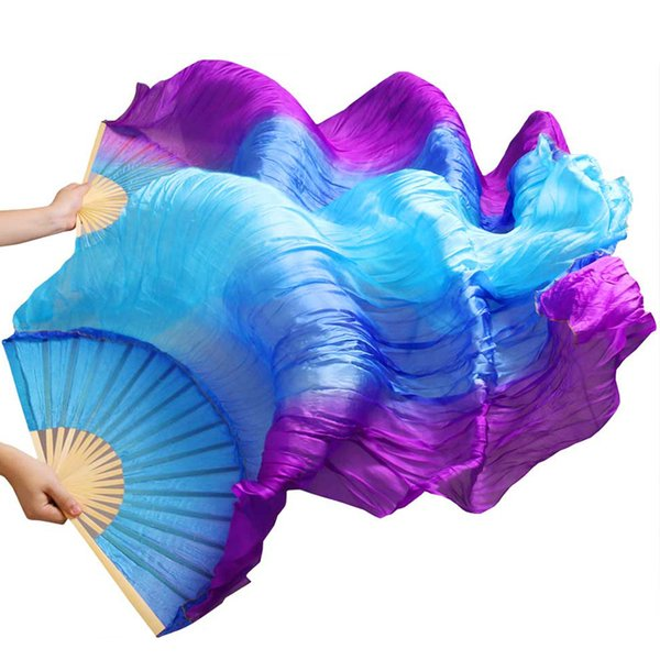belly dance High Selling 100% Silk 1Pair Handmade High Quality Silk Belly Dance Fans Vertical Stripes Purple+Royal blue+Turquoise 180*90cm