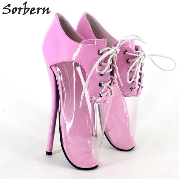 Sorbern Women Ballet Thin Heel Pumps Designer Brand Custom Made Shoes Plus Size Unisex Party Gay Dance Lace Up Pump PVC Real Image Sexy